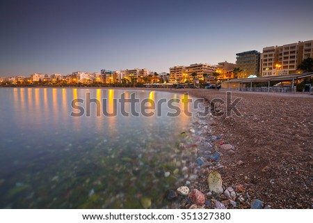 Athens, Greece - November 19, 2015: Beach in Palaio Faliro and the seafront of Athens, Greece