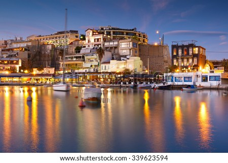 Athens, Greece - November 10, 2015: Boats and restaurants in Mikrolimano marina in Athens, Greece