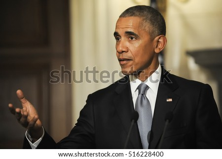 Athens, Greece, November 15, 2016: President Barack Obama speaks during a joint news conference with Greek Prime Minister Alexis Tsipras participate at Maximos Mansion in Athens