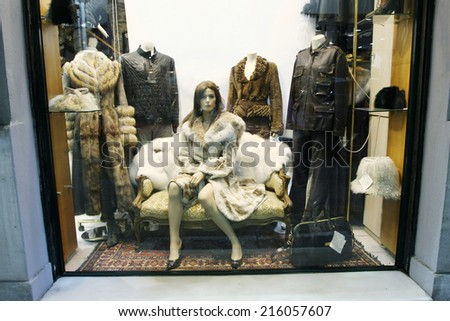 ATHENS, GREECE - OCTOBER 5 : A shop window with fur coats and leather clothing on October 5th, 2011 in Athens, Greece.