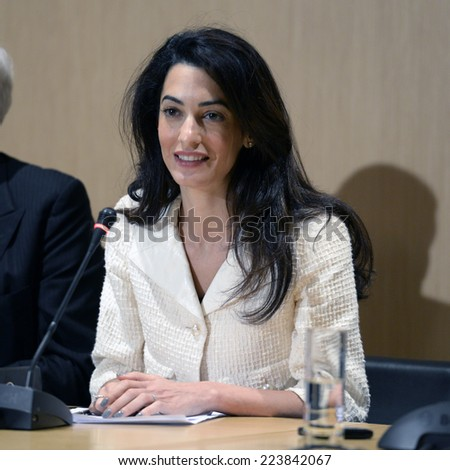 Athens, Greece, October 15,2014. Lawyer Amal Clooney during a press conference at the Acropolis Museum on the return of the Parthenon Marbles from England back to Greece and the reunification of them