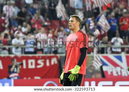 Athens, Greece- September 16, 2015: Goalkeeper Manuel Neuer during the UEFA Champions League game between Olympiacos and Bayern, in Athens, Greece.