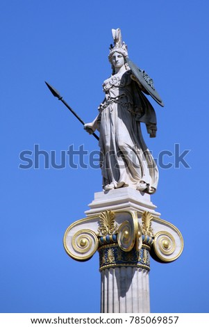 ATHENS, GREECE - SEPTEMBER 21, 2012: It is a column with a statue of the goddess Athena near the Athens Academy.