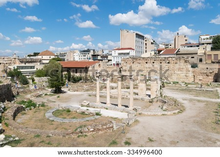Athens, Greece 13 September 2015. Roman ancient market in Athens ready to welcome tourists and local people.