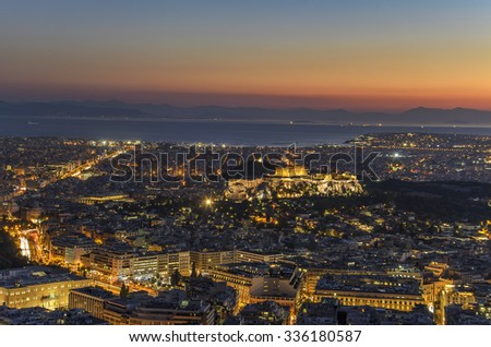 Athens - Greece September 17 2015: The Acropolis of Athens at night, aerial view from Lecabetus hill. Athens - Greece
