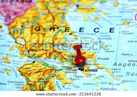 Athens pinned on a map of europe - stock photo