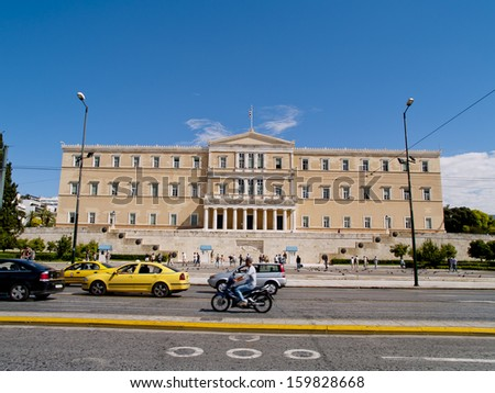 ATHENS - SEP 29 : People visiting Greek Parliament building, on Sep 29, 2010,in Athens, Greece.The Building was erected between 1836 and 1842 as the royal palace for king Otto I.