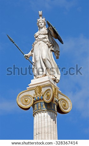 Athens - The statue of Athena on the column in front of The National Academy building by Leonidas Drosis (from 19. cent.)  - stock photo