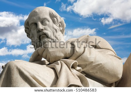 Athens.  The statue of Plato in front of National Academy building by the Italian sculptor Piccarelli (from 19. cent.), Greece
