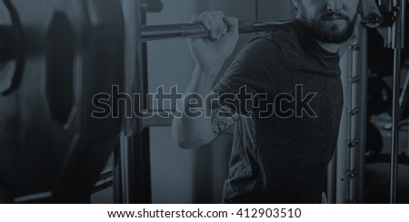 Athlete Attractive Gym Equipment Fitness Hobby Concept - stock photo