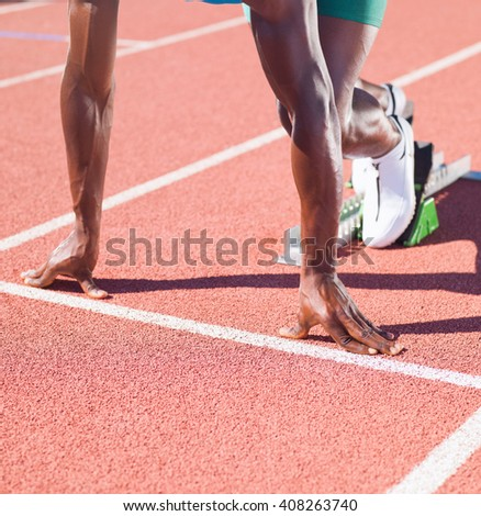 Athlete before the Race Start - stock photo