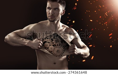 Athlete businessman showing his internal   - stock photo