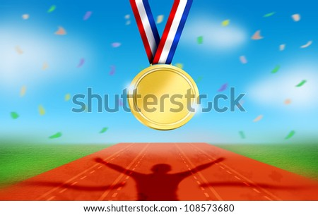 Athlete Celebrates on Racetrack Finish Line. Stadium during Day with Confetti and Gold Medal Hung. - stock photo