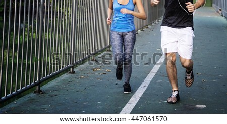 Athlete Couple Running Sport Lifestyle Healthy Concept