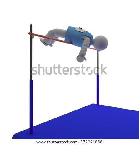 Athlete doing high jump, isolated over white, 3d render, square image - stock photo
