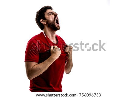 Athlete / fan on red uniform celebrating on white background