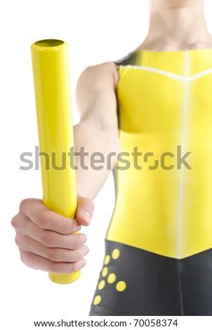 Athlete holding a baton on a white background. - stock photo