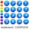 Athlete Icons on Round Button Collection Original Illustration - stock vector
