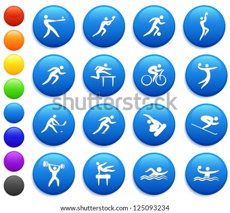 Athlete Icons on Round Button Collection Original Illustration
