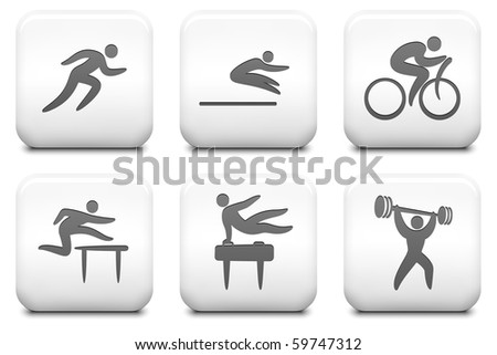 Athlete Icons on Square Black and White Button Collection Original Illustration