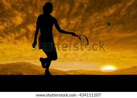 Athlete playing tennis with a racket against beautiful african scene