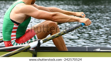 Athlete rower at the start. Rowing. - stock photo