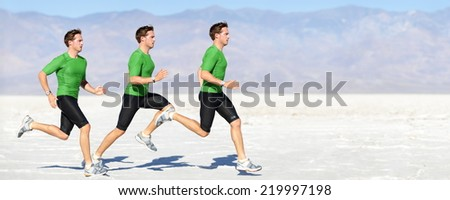 Athlete running man - runner in speed showing sprinting motion. Male sport athlete sprinter composite in beautiful nature landscape. Fit fitness model in fast sprint run in outdoor in nature. - stock photo