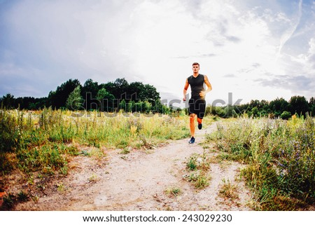 Athlete running on trial, path