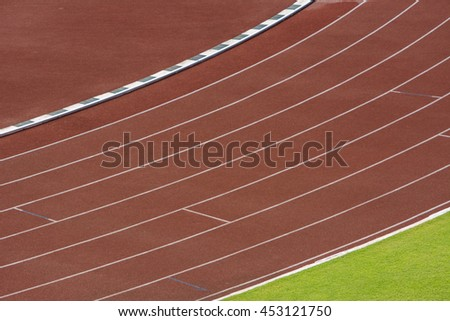 Athlete Track or Running Track, Racetrack in stadium with an artificial covering - stock photo