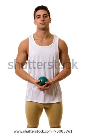 Athlete With Shot - stock photo