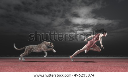Athlete woman competes with a cheetah on running track in the night. Race between a woman and a cheetah. This is a 3d render illustration