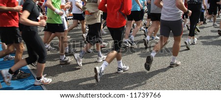 Athletes at the start of the race (Antwerp 10 miles, 2008) - stock photo