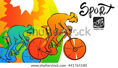 Athletes ink sketches. Cyclist sports cards, poster, illustration. - stock photo
