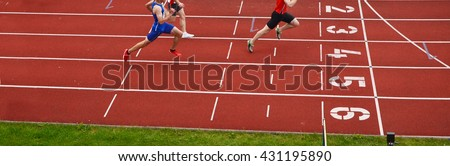Athletes on the track. Panorama crop image, nice picture for olympic game, rio - stock photo