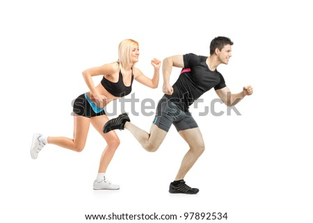 Athletes running isolated on white background