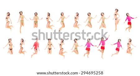 Athletic Concept Funny Jumping  - stock photo