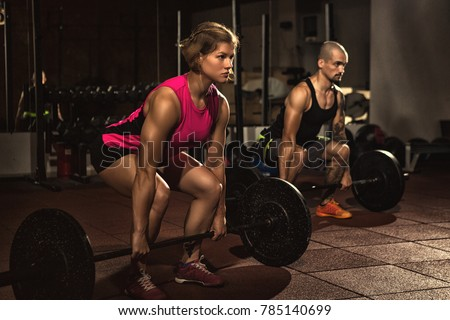 Athletic Couple Working Out Crossfit Gym Stock Photo Edit Now