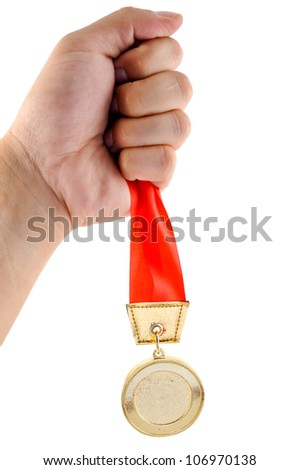 Athletic holding golden medal with clipping path - stock photo