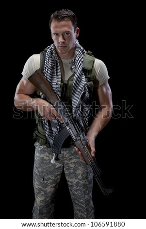 Athletic Male Soldier - stock photo