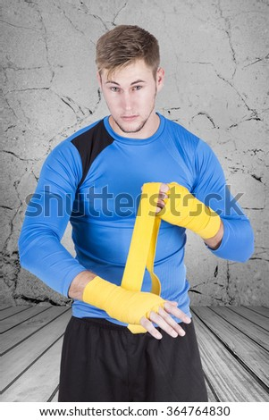 Athletic man boxing