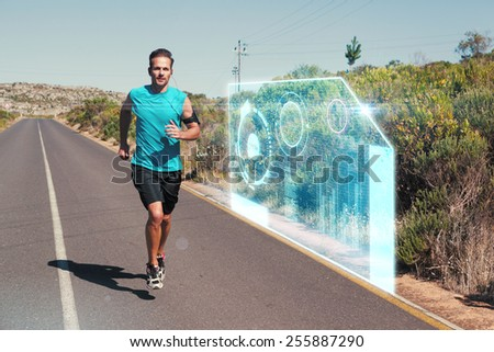 Athletic man jogging on open road against fitness interface - stock photo