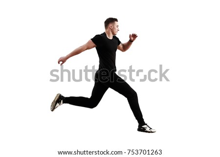 Athletic man running isolated on white background