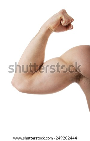 Athletic man showing his biceps.