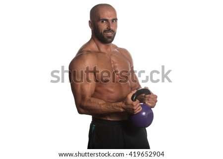 Athletic Man Workout With Kettle Bell Over White Background