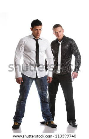 athletic, muscular men in a model shooting - stock photo