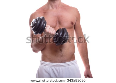 Athletic nude muscular male body isolated on white. body-building. dumbbell in the hand.