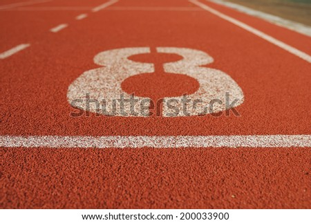 Athletic running track in stadium