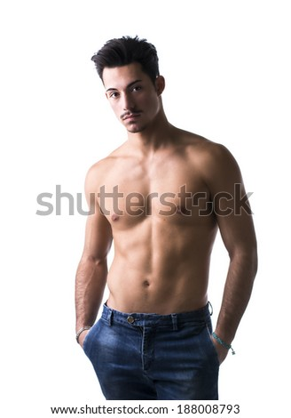 Athletic shirtless young man in jeans, with mustache, isolated on white