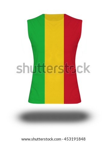athletic sleeveless shirt with Mali flag on white background and shadow - stock photo