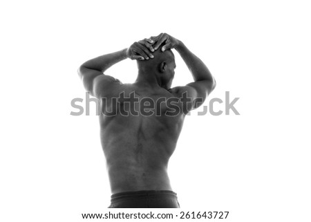 Athletic, sporty, muscular, healthy black male runner dealing with loss and pain after a race